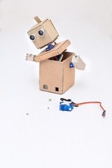 assembling cardboard robot and the necessary details