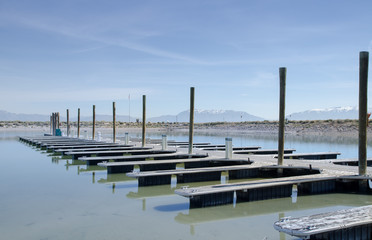 Boat dock on Great Salt Lake, Utah, USA.