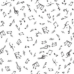 Music notes and elements seamless pattern. Musical tiling background