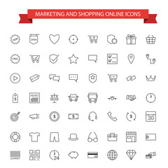 marketing and shopping online icons