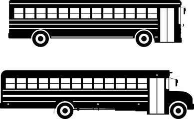 Set of different silhouettes school buses isolated on white background in flat style. Vector illustration.