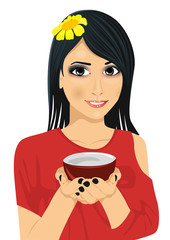 Asian pretty woman holding a cup of green tea