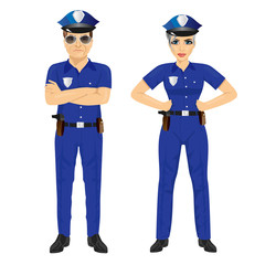 confident police man and woman agents in uniform