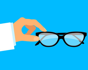 Ophthalmologist. The doctor in the medical gown holding glasses. Vector illustration