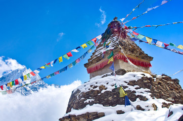 Buddhist stupa in mountains. Everest region, Nepal