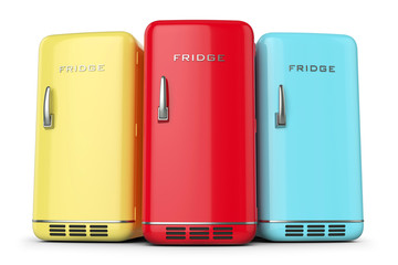 Group of retro colored fridges in row