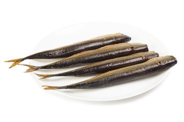 Cold smoked saury on plate