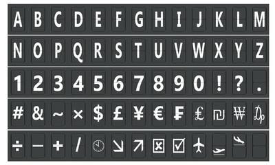 Set of letters on a mechanical scoreboard, 3D rendering