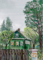 Village summer landscape.Watercolor hand drawn illustration.House,fence and trees.