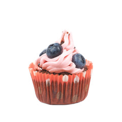Chocolate muffin with pink cream isolated