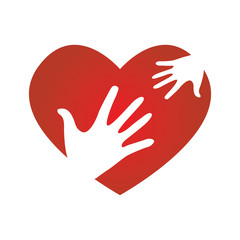 Family Community and Heart Love Donation and Charity Icons