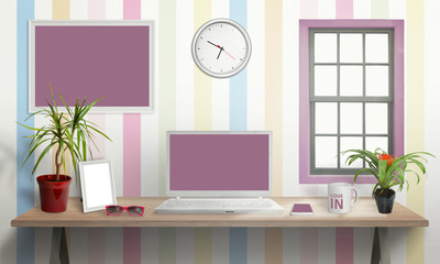 Laptop on desk in girl room. Isolated, white screen for mockup. Creative scene with plants, picture frame, glasses, smart phone, cup clock. Isolated picture, poster frame on wall