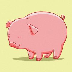 funny cartoon cute  fat pig illustration