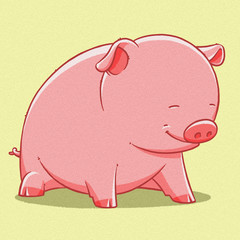 funny cartoon cute  fat pig illustration