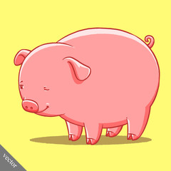 funny cartoon cute vector fat pig illustration
