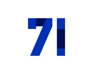 71 blue ribbon number logo
