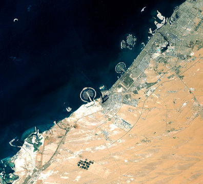 Dubai from Landsat satellite. Elements of this image furnished by NASA.