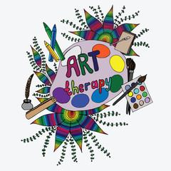 Set of art tool. Rainbow color.