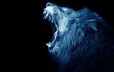 Fractal digital art of a lion