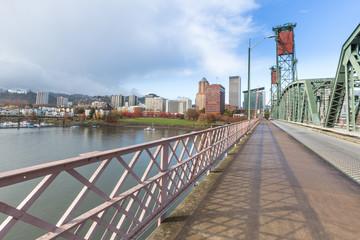 footpath on bridge,skyline and cityscape in portland