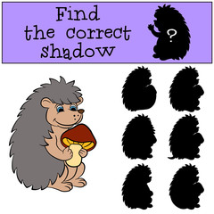 Children games: Find the correct shadow. Little cute hedgehog holds a mushroom in the hands and smiles.