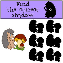 Children games: Find the correct shadow. Little cute hedgehog stands near the big mushroom and smiles.