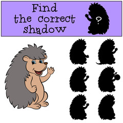 Children games: Find the correct shadow. Little cute hedgehog waves his hand and smiles.