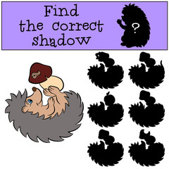 Children games: Find the correct shadow. Little cute hedgehog lays and holds a mushroom in the hands.