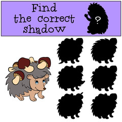 Children games: Find the correct shadow. Little cute hedgehog has a lot of mushrooms in his needles.