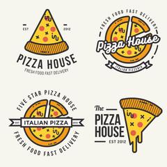 Set of pizza logo, badges, banners, emblem for fast food restaurant. Vector illustration.