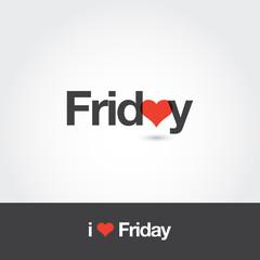 Logo friday with heart. Editable vector logo design.