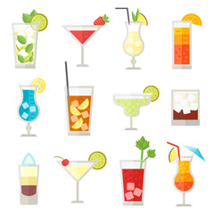 Set of different alcohol drink bottle and glasses vector illustration.