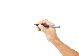 Man hand with pen isolated on white background, clipping path in