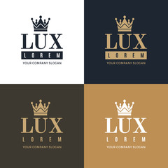 Set gold, blue and white logo on a blue, white and gold background with a picture of the silhouette of the crown and the words Lux. It symbolizes the highest quality, strength, indestructibility