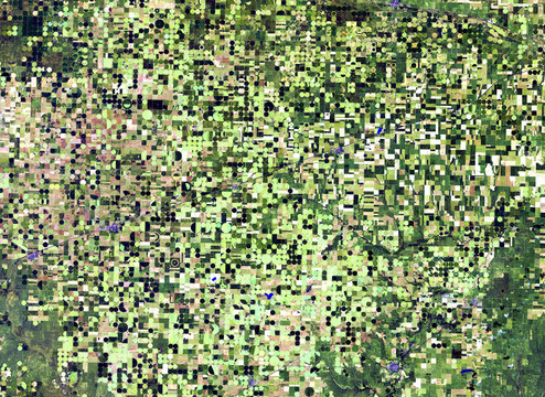 Round fields (kansas) from Landsat satellite. Elements of this image furnished by NASA.