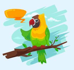Parrot cartoon macaw. Vector flat illustration