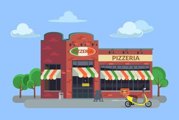 Cartoon pizzeria. Vector flat illustration