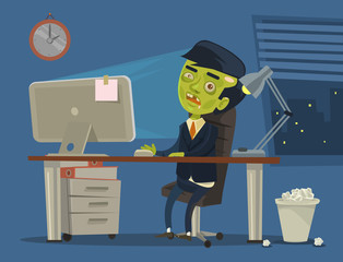 Zombie worker. Vector flat cartoon illustration
