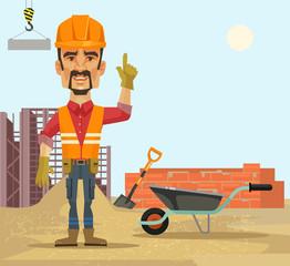 Builder. Vector flat cartoon illustration