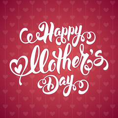 Mothers Day Lettering Calligraphic Design on Red Ornate Background. Happy Mothers Day Inscription. Vector Illustration For Greeting Card and Other Print Templates.