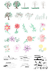 Hand-drawn nature set objects