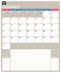 English calendar 2017 /December 2017, English printable monthly calendar template, week starts on Sunday
