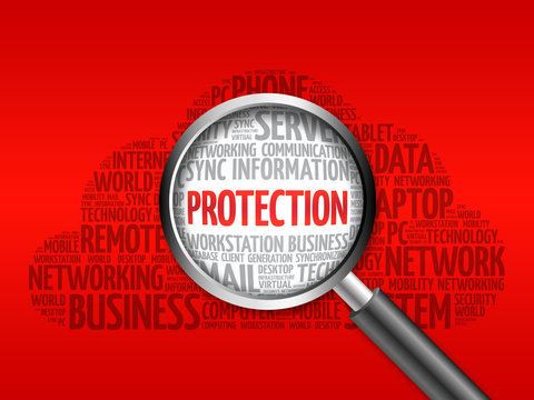 PROTECTION word cloud with magnifying glass, business concept