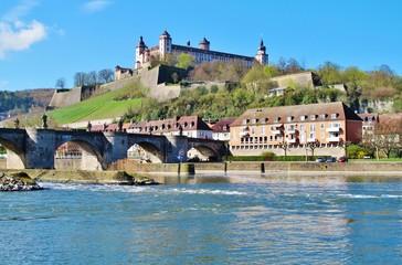 Würzburg, Alte Mainbrücke und Festung Marienberg