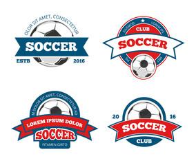 Soccer logo templates. Football logotypes or soccer logos, sport team badges identity vector illustrations