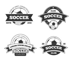 Soccer labels. Soccer championship emblems or football badges vector set