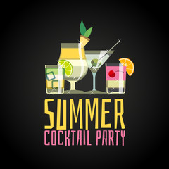 Cocktail party poster. Cocktail summer party invitation vector