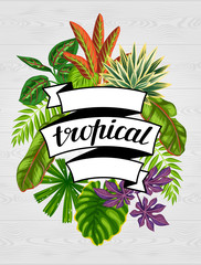 Tropical paradise card with stylized plants and leaves. Image for advertising booklets, banners, flayers