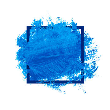 Blue Watercolor Blot In Square Frame