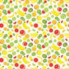 Vector seamless background of lemon, orange, lime, grapefruit, kiwi slices and bananas. Multivitamin fruits. White background.